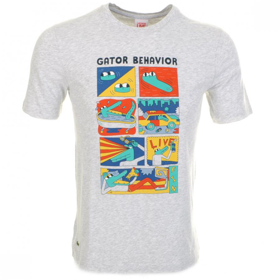 Lacoste l ive gator t shirt in gray for men grey lyst for Lacoste shirts with big alligator