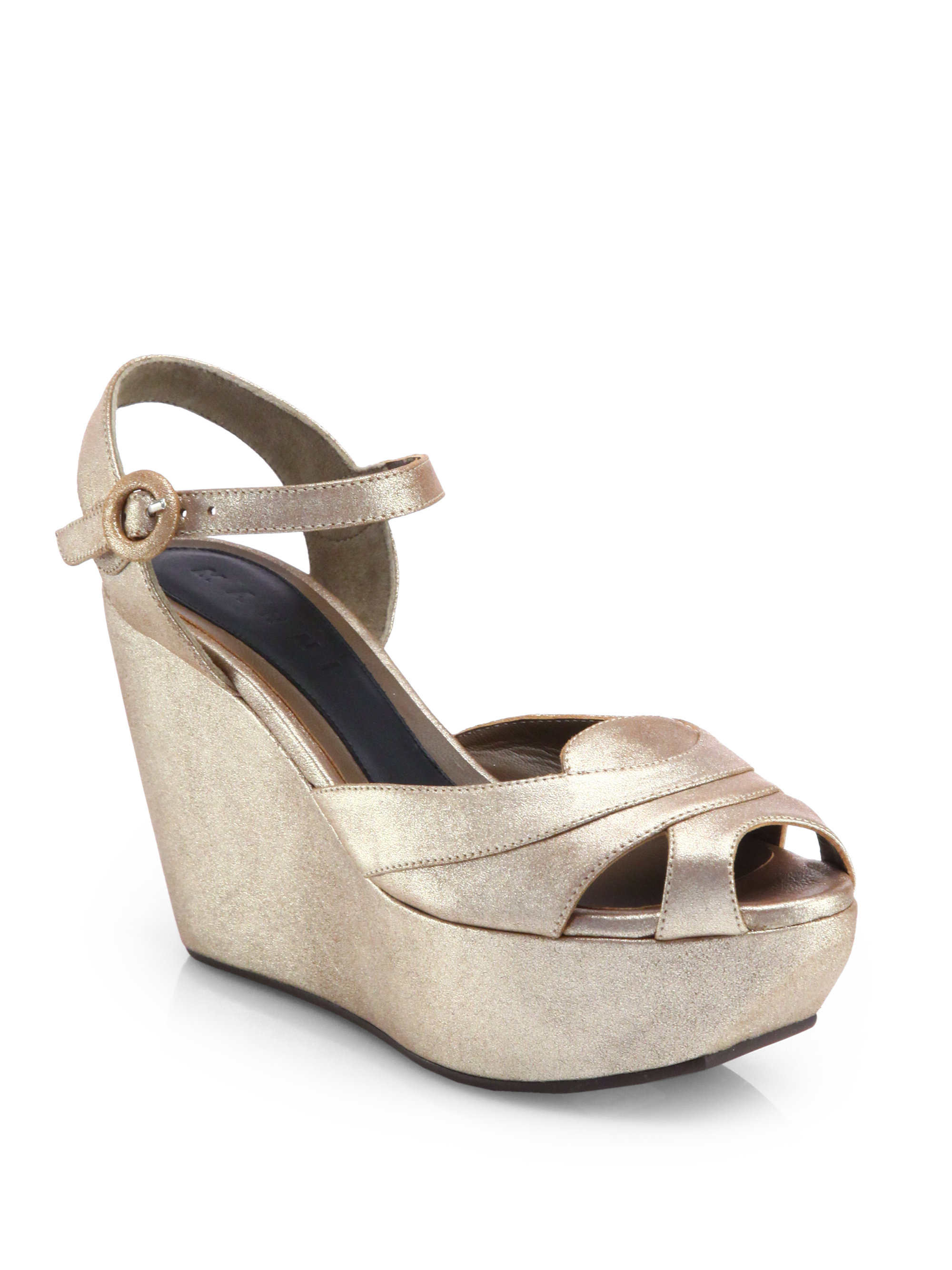 Marni Metallic Leather Platform Wedge Sandals in Silver ...