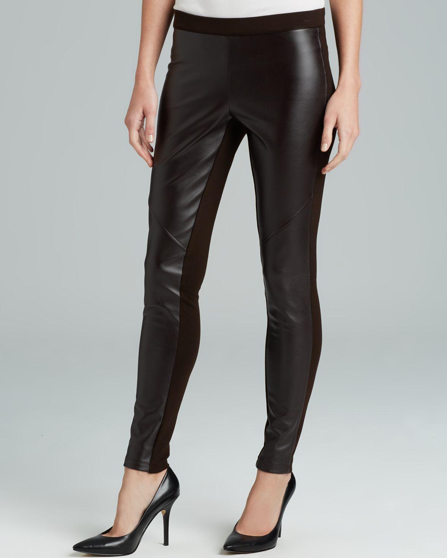 7ba42c8ec65e74 MICHAEL Michael Kors Faux Leather Front Leggings in Black - Lyst