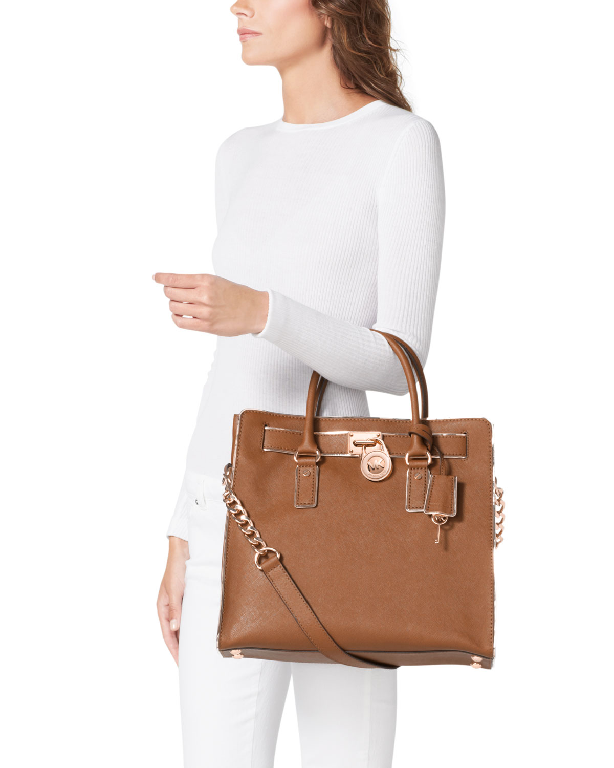 75d609cd2d12 MICHAEL Michael Kors Large Hamilton Saffiano Tote in Brown - Lyst