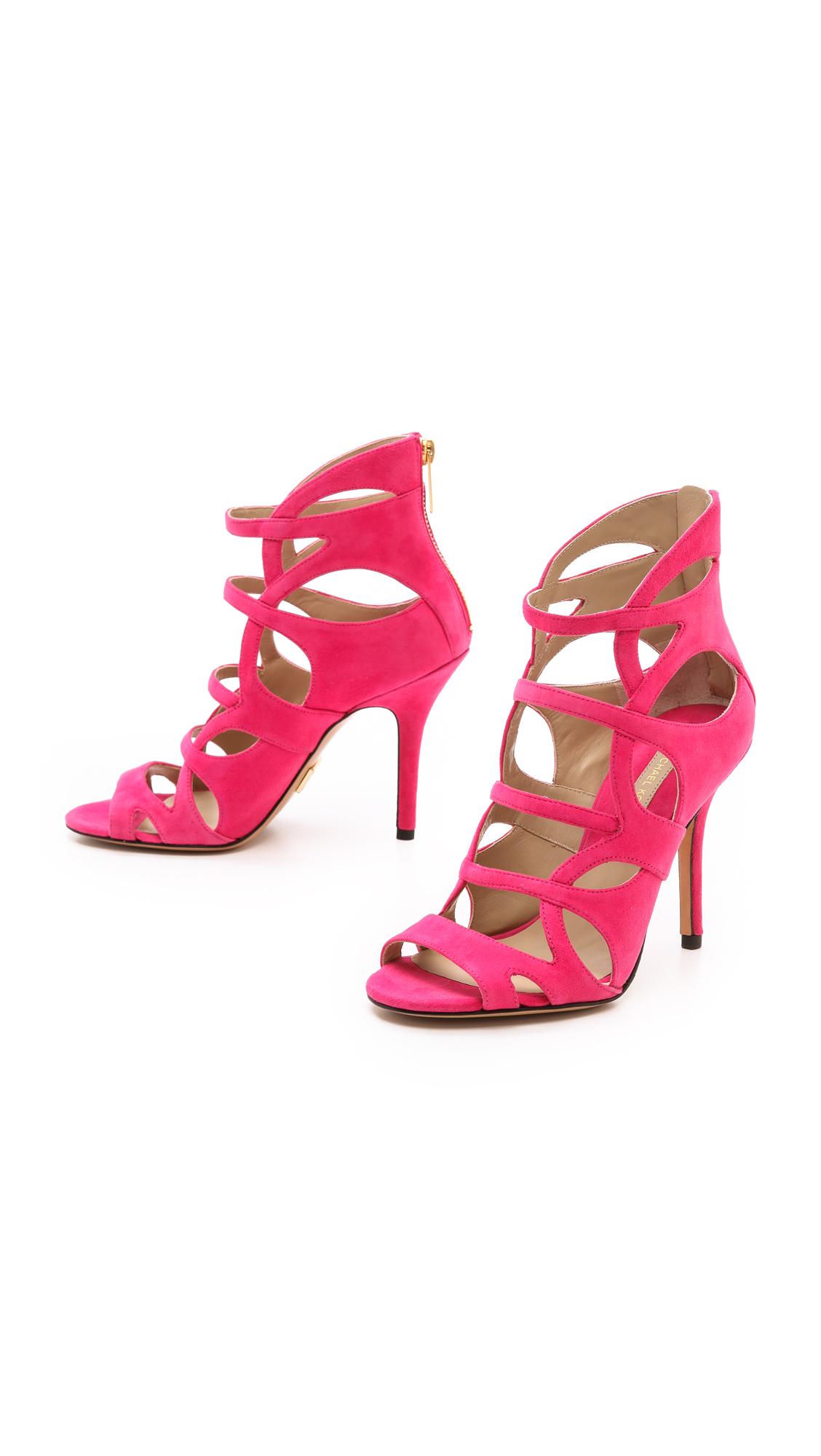 Lyst Michael Kors Casey Cutout Sandals Black In Pink