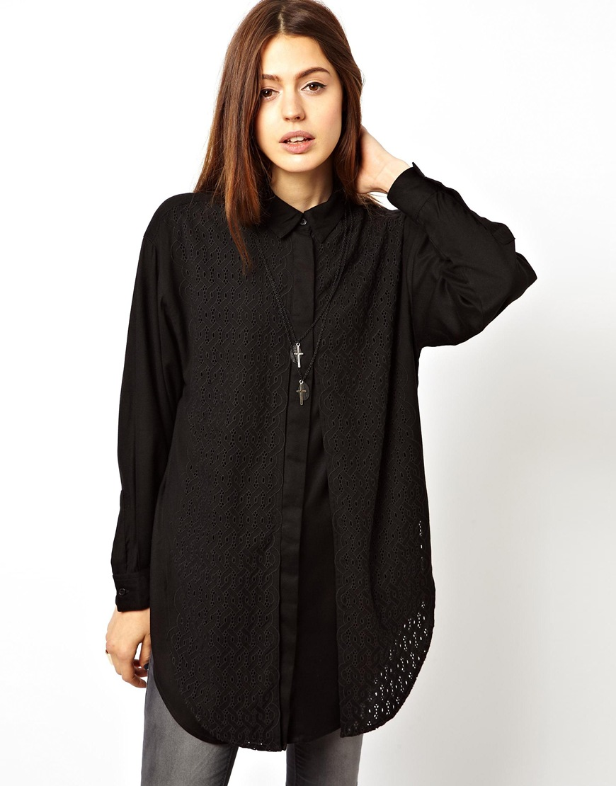 Asos Asos Boyfriend Shirt with Embroidered Overlay Panel ...