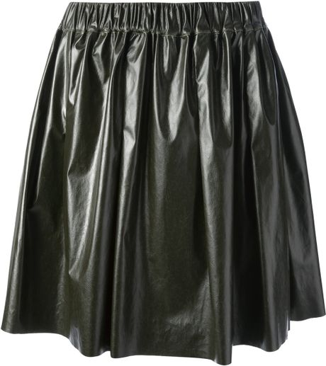 msgm faux leather skirt in green lyst