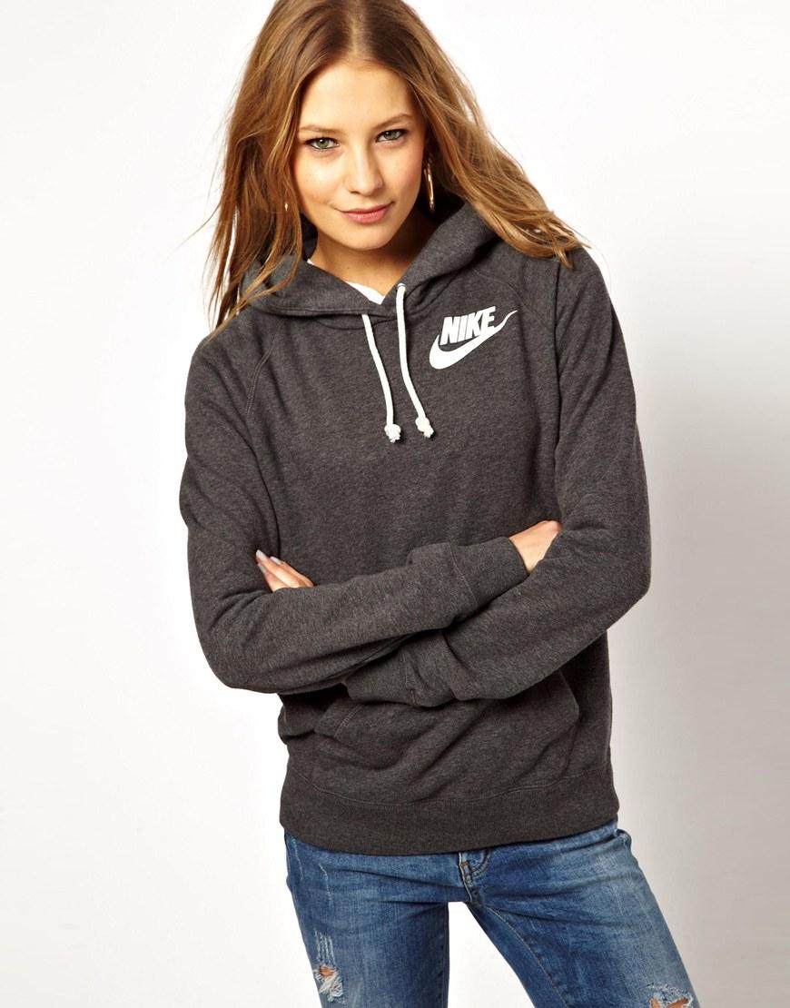 Nike hoodie in gray washerdblack lyst