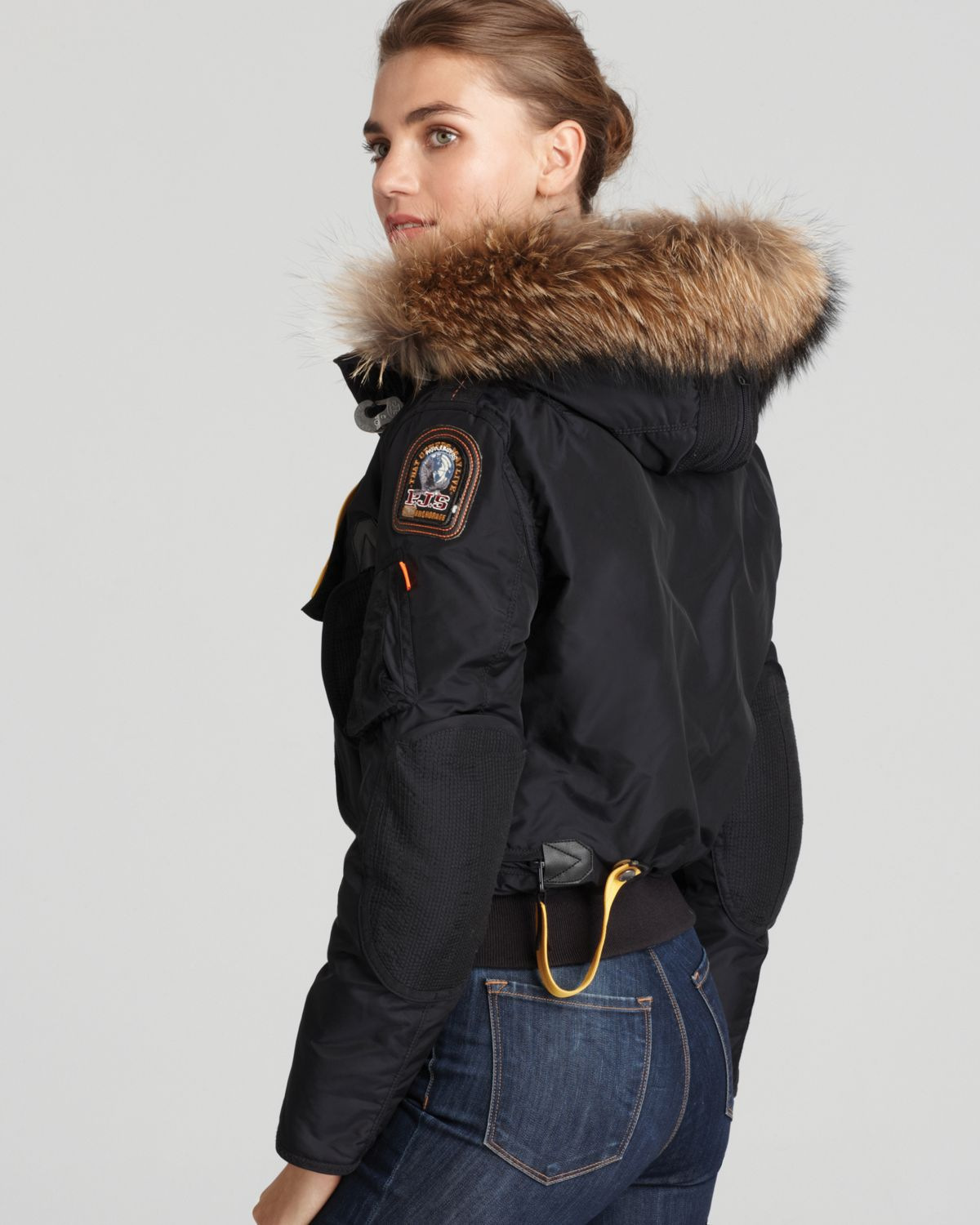 ... lyst parajumpers gobi down bomber jacket with fur hood in blue