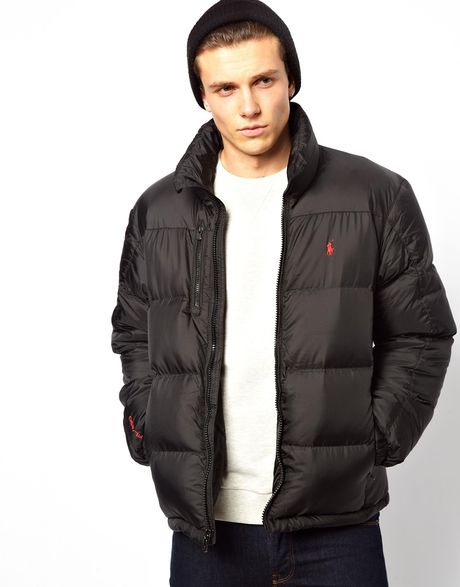 polo ralph lauren jacket with down fill in black for men lyst. Black Bedroom Furniture Sets. Home Design Ideas