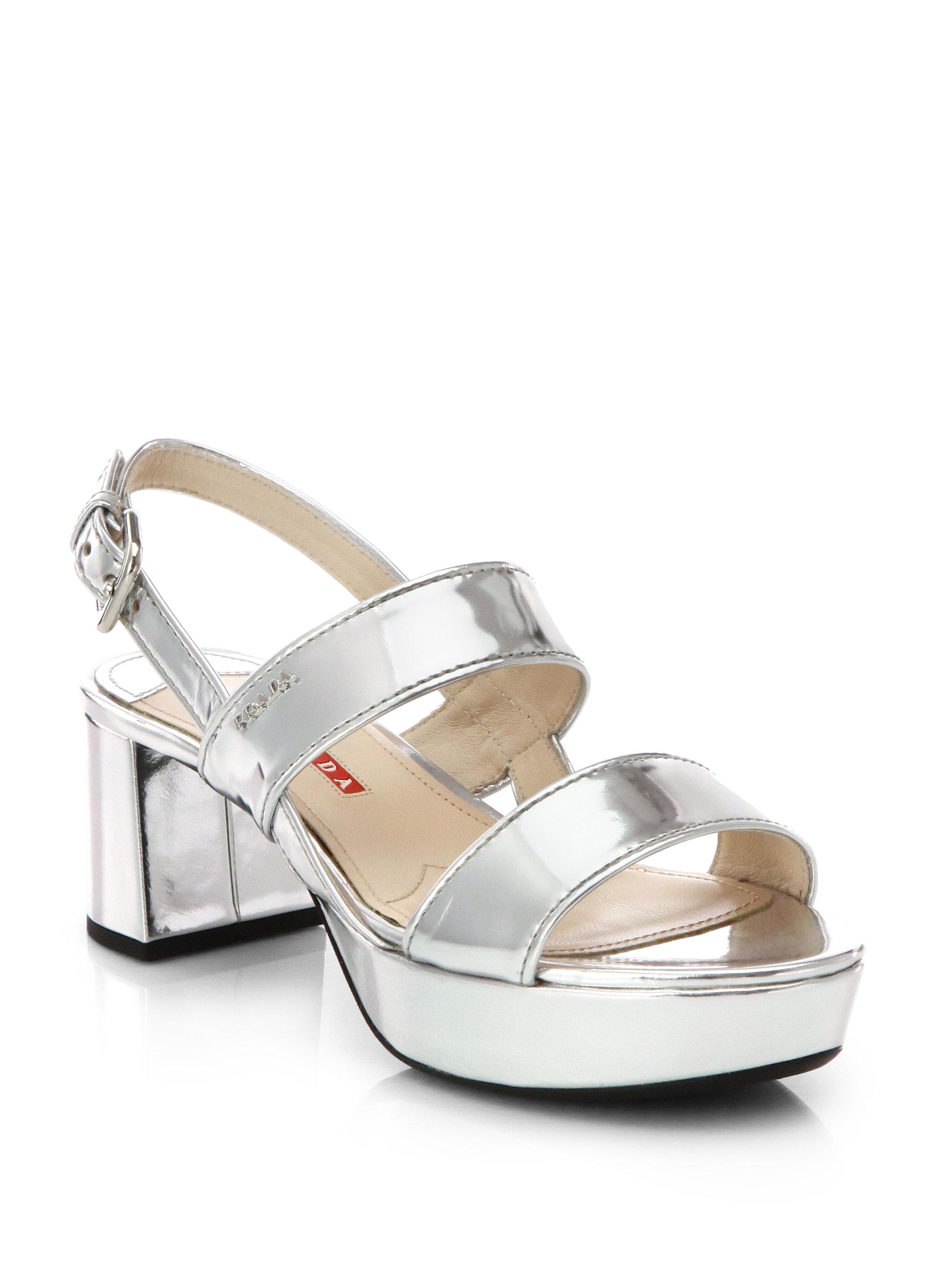 Prada Patent Leather Metallic Sandals shopping online high quality 0LBbWnvcT6