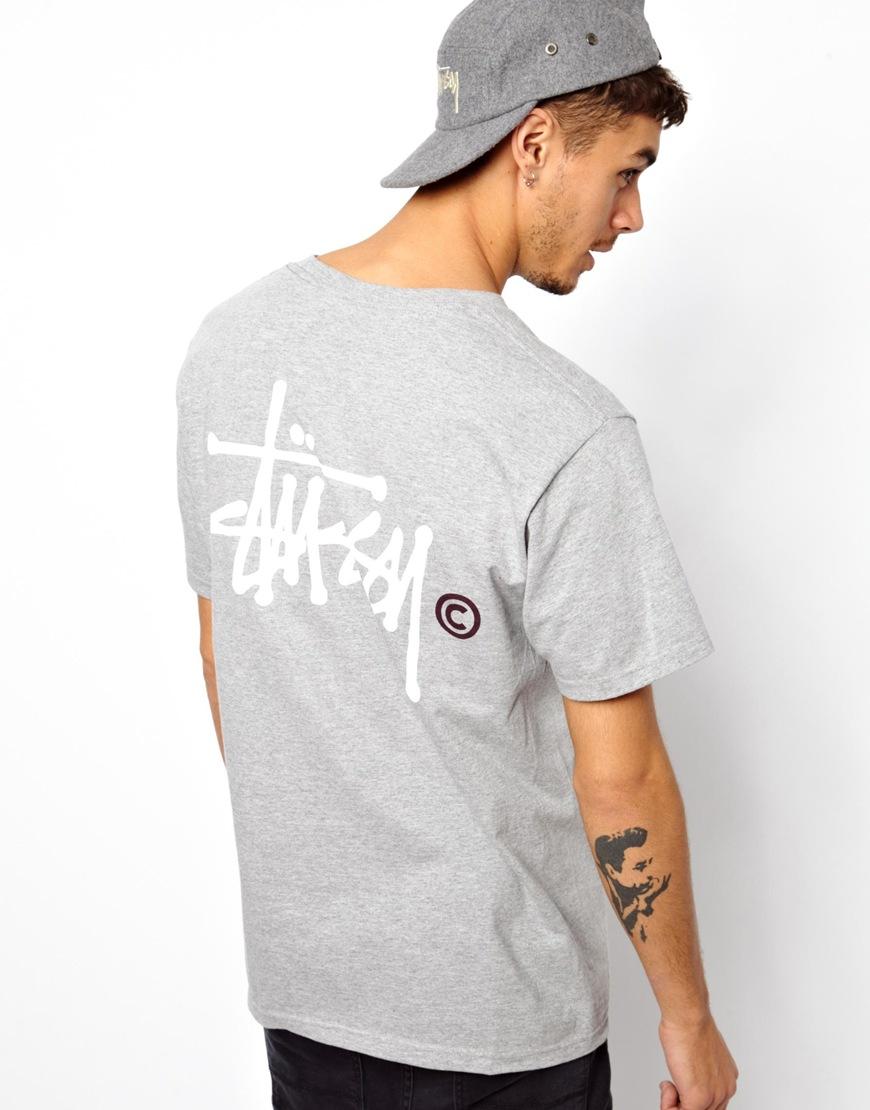 Lyst - Ralph Lauren Stussy Tshirt Basic Logo Back Print in Gray for Men 9687869b7adf