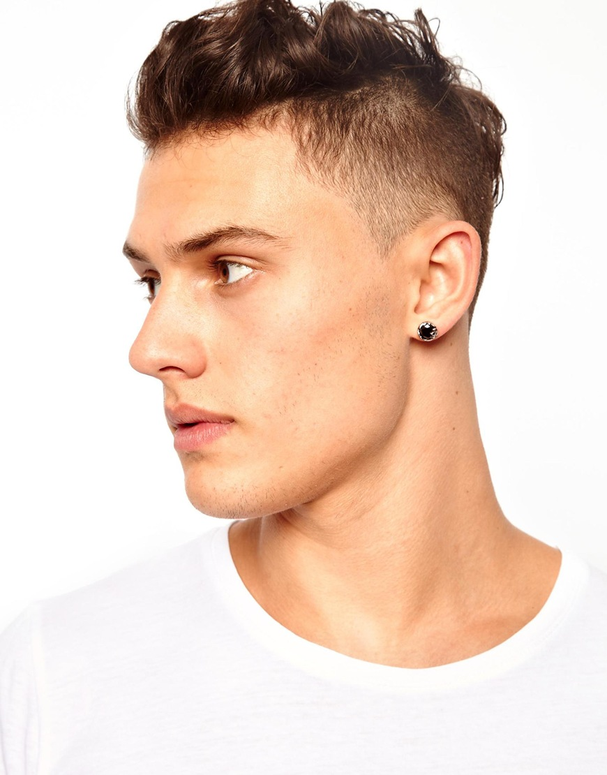 studded earrings for guys lyst asos stud earring in metallic for 7860