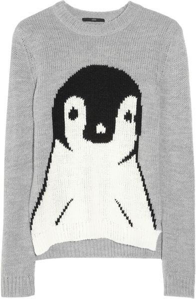 Tibi Penguin Intarsia Knitted Sweater in Gray