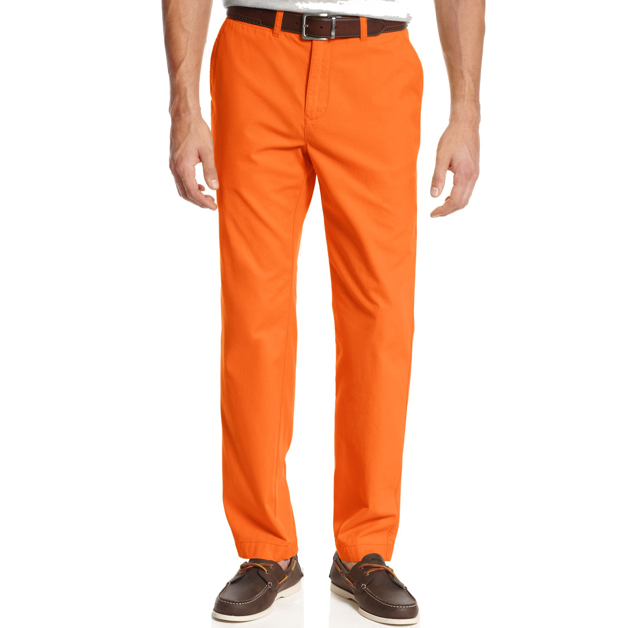 Men's Orange Dress Pants These orange dress pants are perfect for a wide variety of occasions. Coordinate these slacks with one of our colorful leather belts to add another level to your outfit.