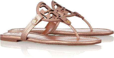 Tory Burch Miller Metallic Leather Sandals In Pink Rose