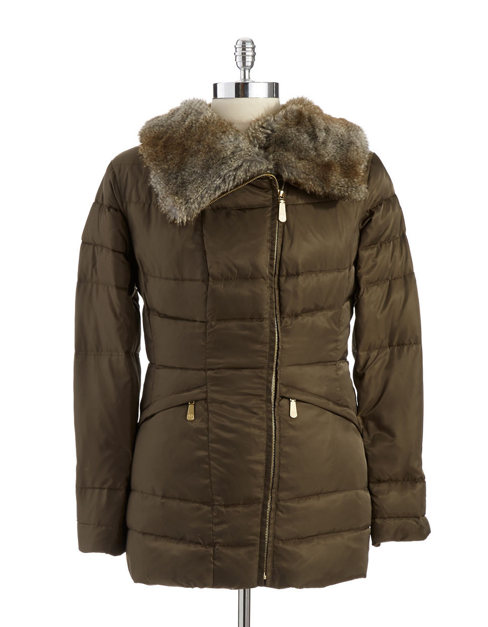 Vince Camuto Puffer Jacket With Faux Fur Collar In Green