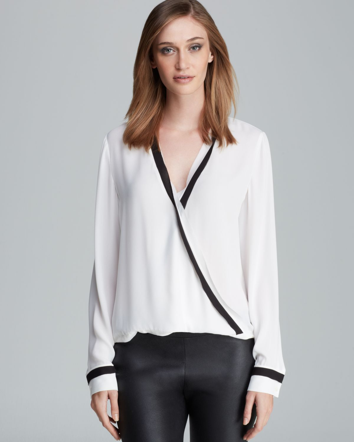 Vince camuto Contrast Wrap Blouse in White | Lyst