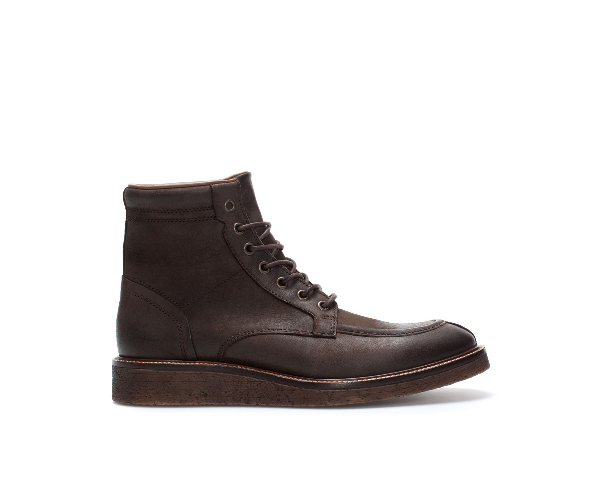 zara wedge heel boot in brown for lyst