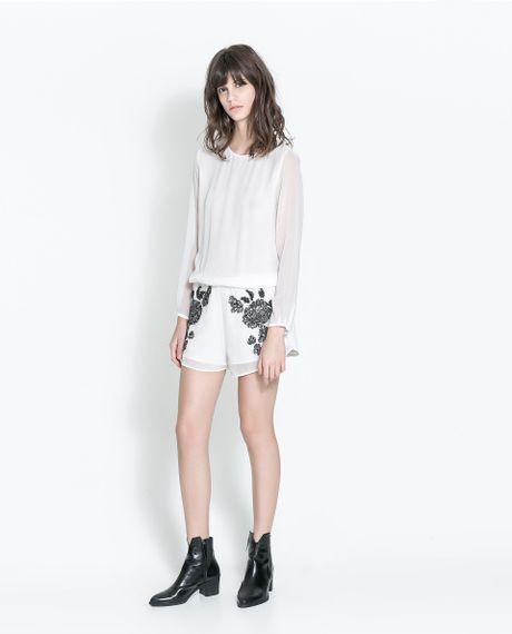 Zara Embroidered Jumpsuit In White Ecru  Lyst