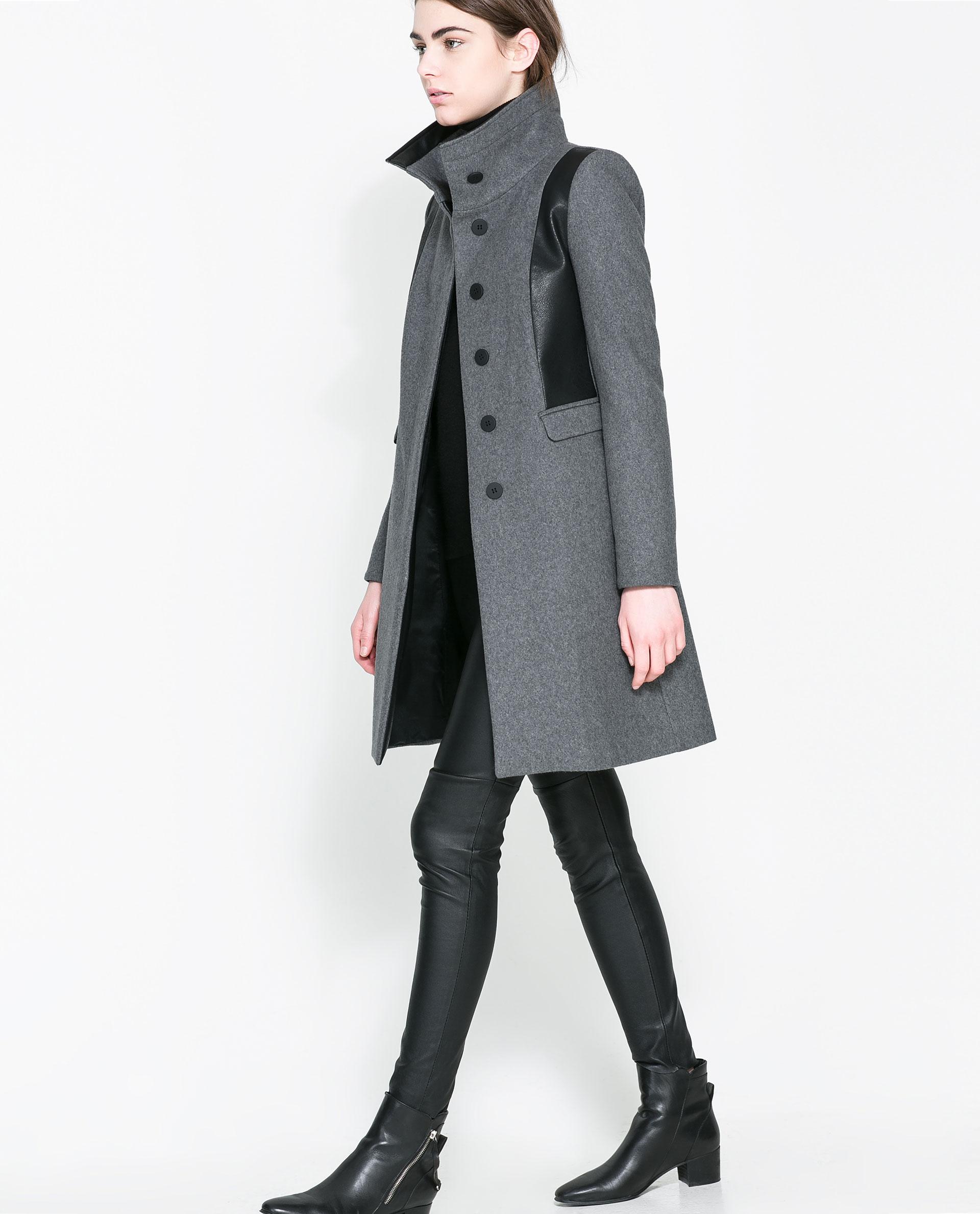 Zara Combined Wool Coat in Gray | Lyst