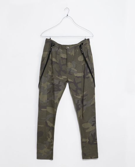 Perfect Zara Camouflage Skinny Trousers In Natural  Lyst