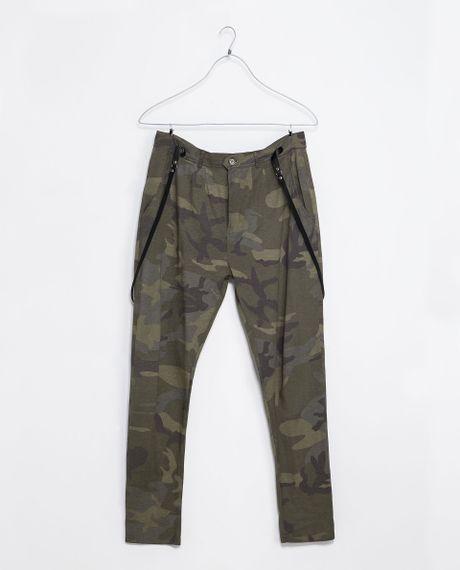 New Zara Camouflage Print Blouse In Khaki  Lyst