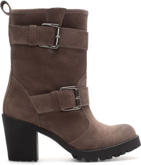 zara suede leather high heel ankle boot in brown taupe