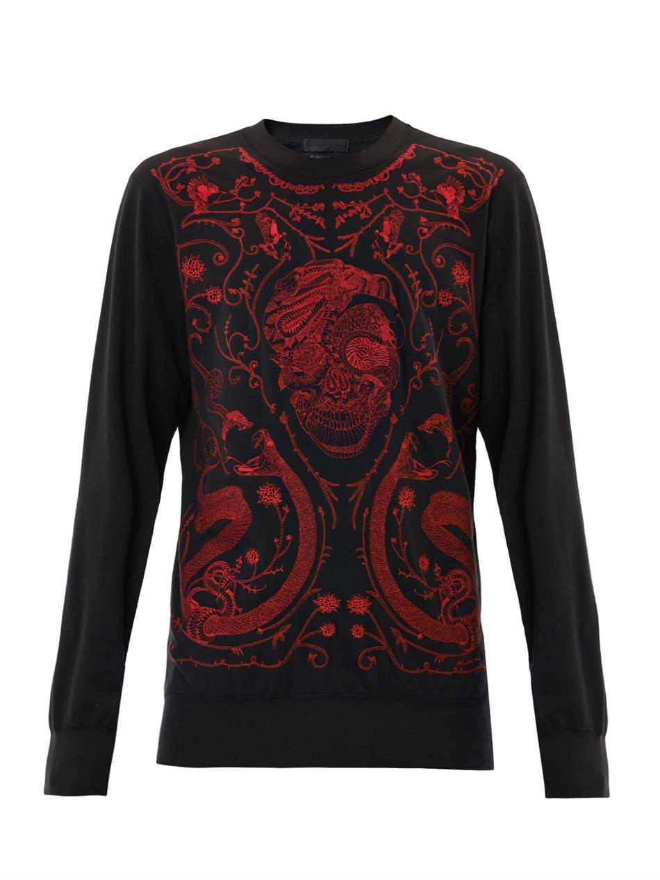 alexander mcqueen embroidered tattoo skull sweatshirt in red for men black lyst. Black Bedroom Furniture Sets. Home Design Ideas