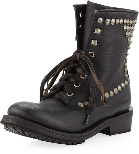 Ash Ralph Studded Laceup Boot Black in Black (6)