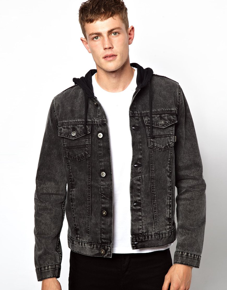 Mens denim jacket with fur collar uk