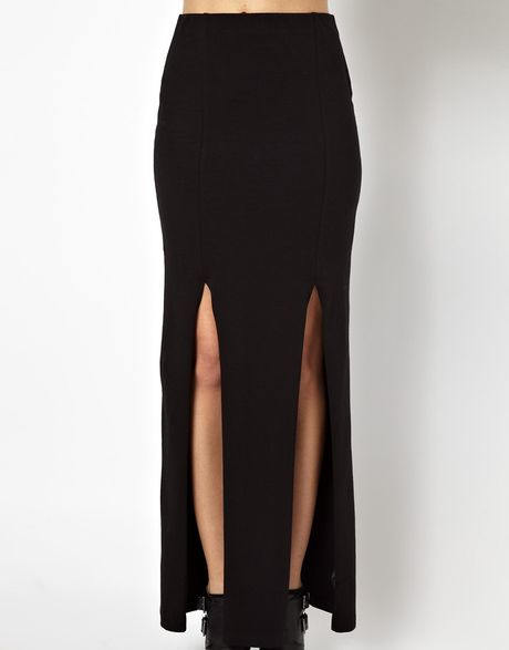 asos exclusive split maxi skirt in black lyst