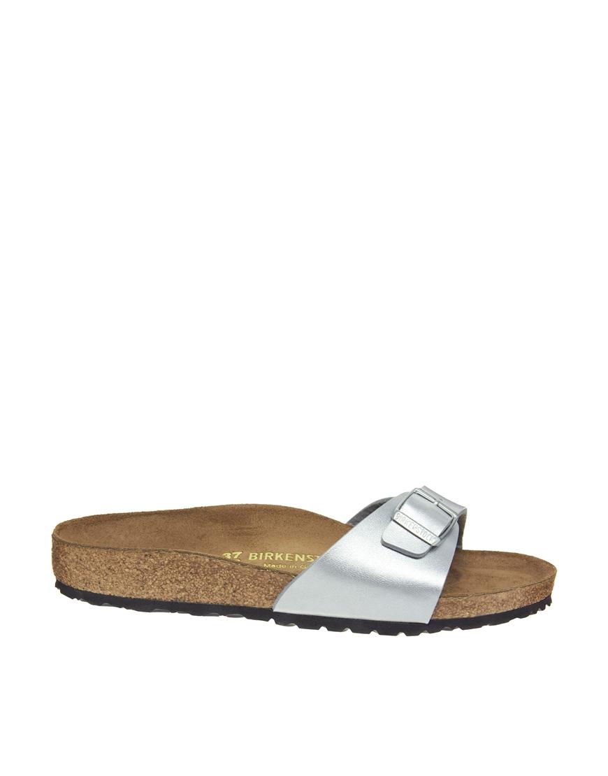 Birkenstock Madrid Silver Flat Sandals in Silver | Lyst