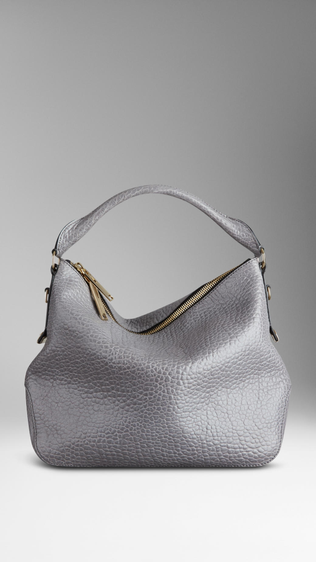 246143ddf8cc Lyst - Burberry Small Heritage Grain Leather Hobo Bag in Gray