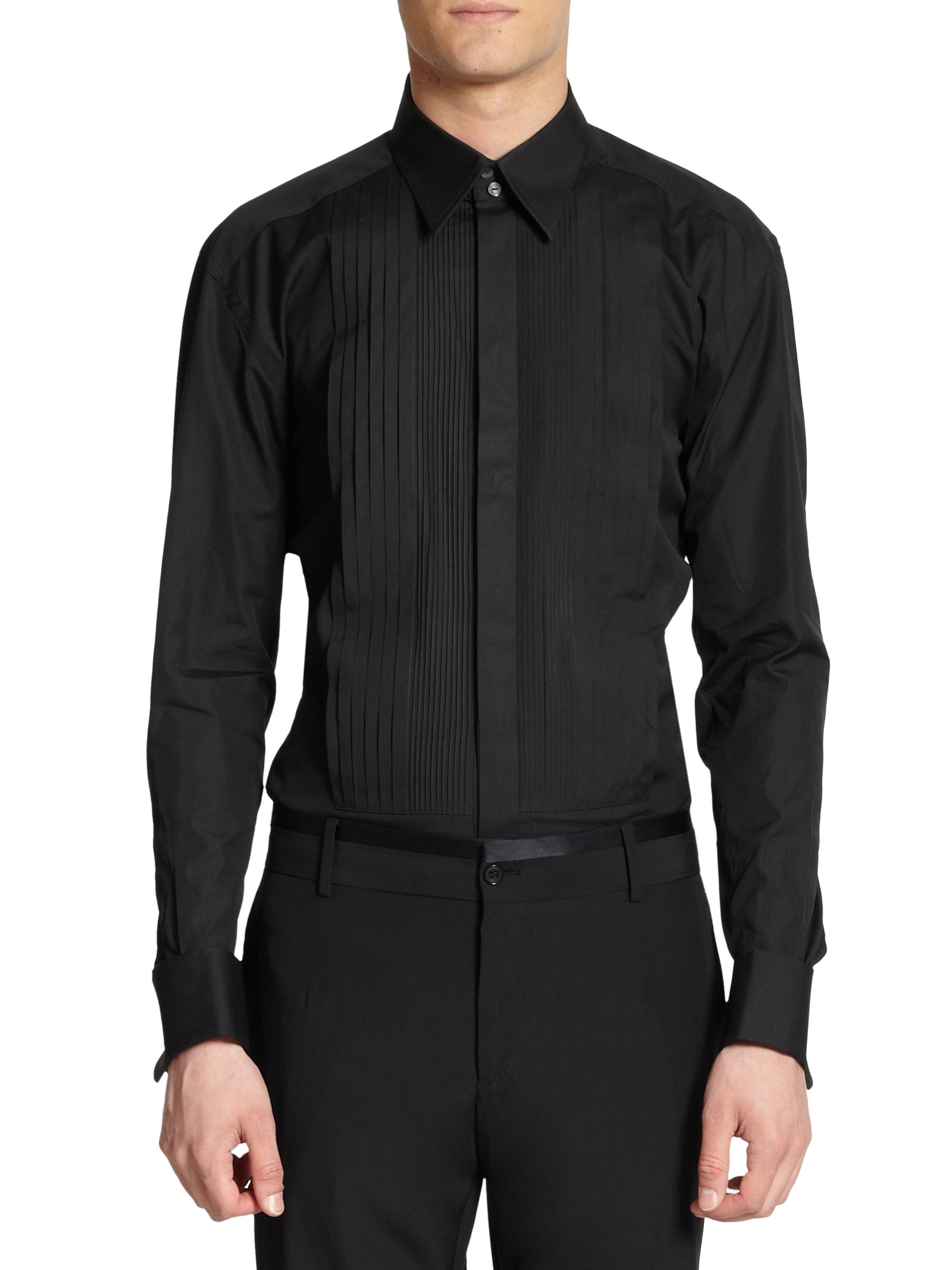 Dolce gabbana cotton buttonfront tuxedo shirtblack in for Tuxedo shirt black buttons