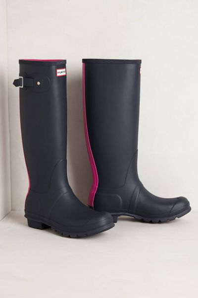 Hunter Racing Stripe Rain Boots In Pink Lyst
