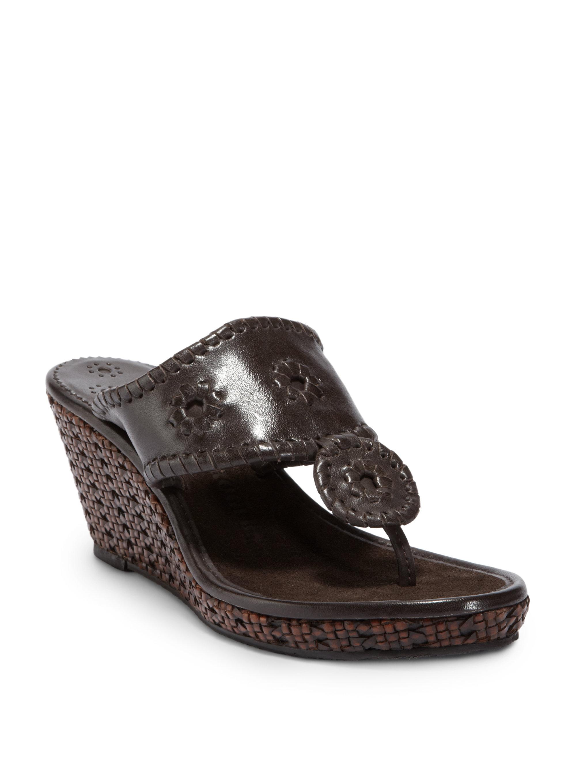 Jack Rogers Del Mar Wedge Sandals In Brown Lyst