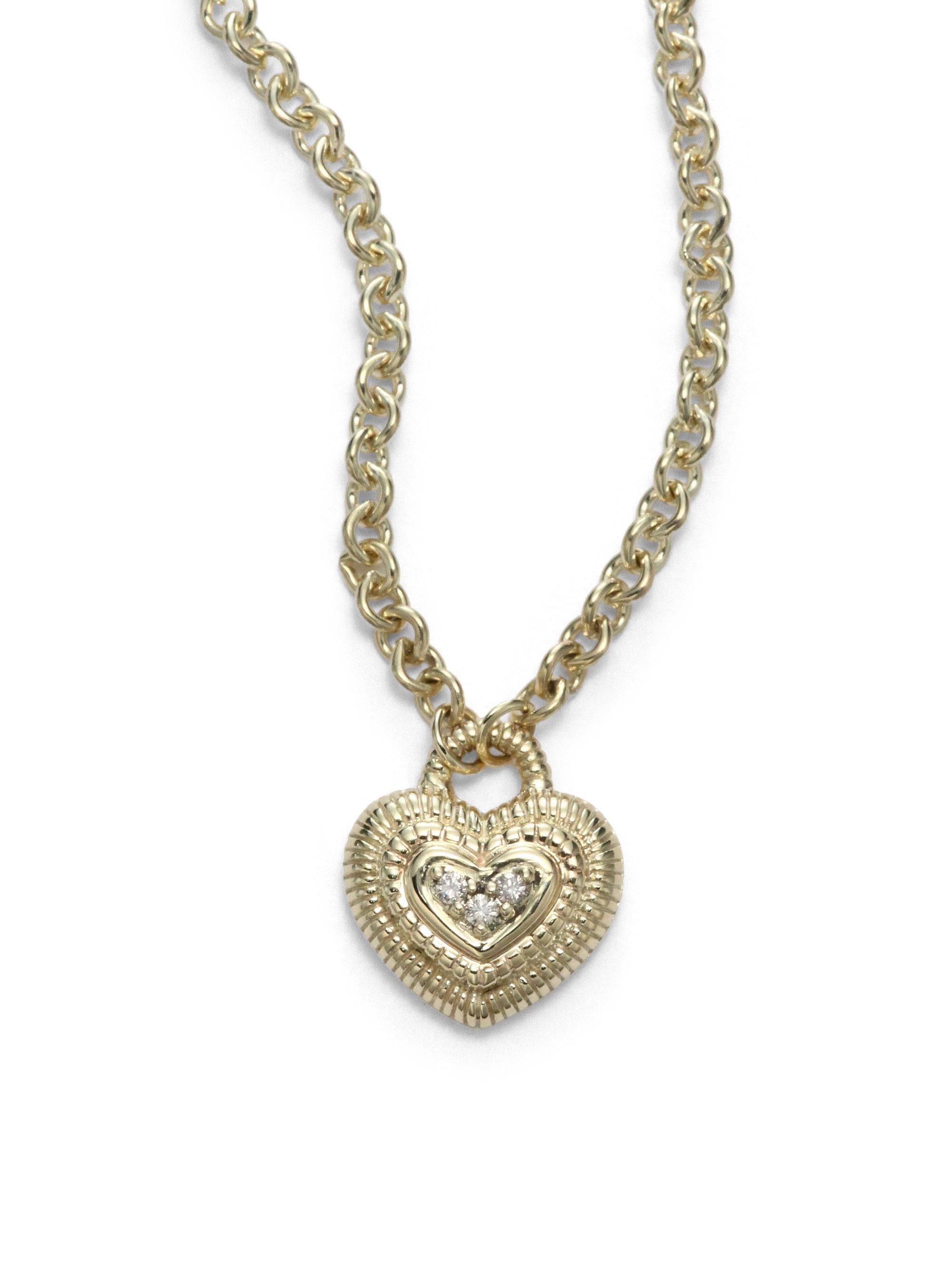 Lyst Judith Ripka Pave Diamond 14k Yellow Gold Heart
