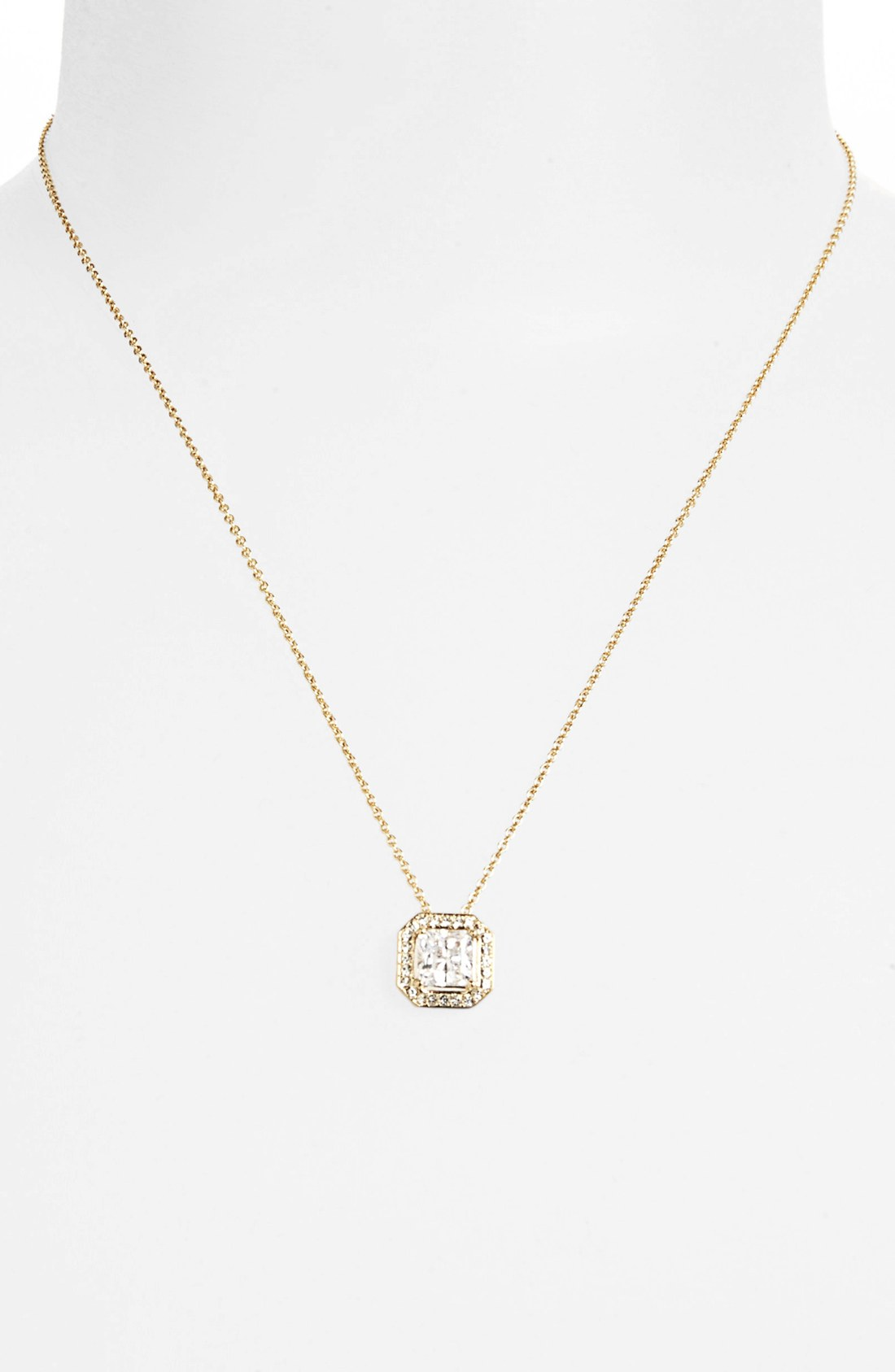 nadri boxed framed square pendant necklace in gold gold