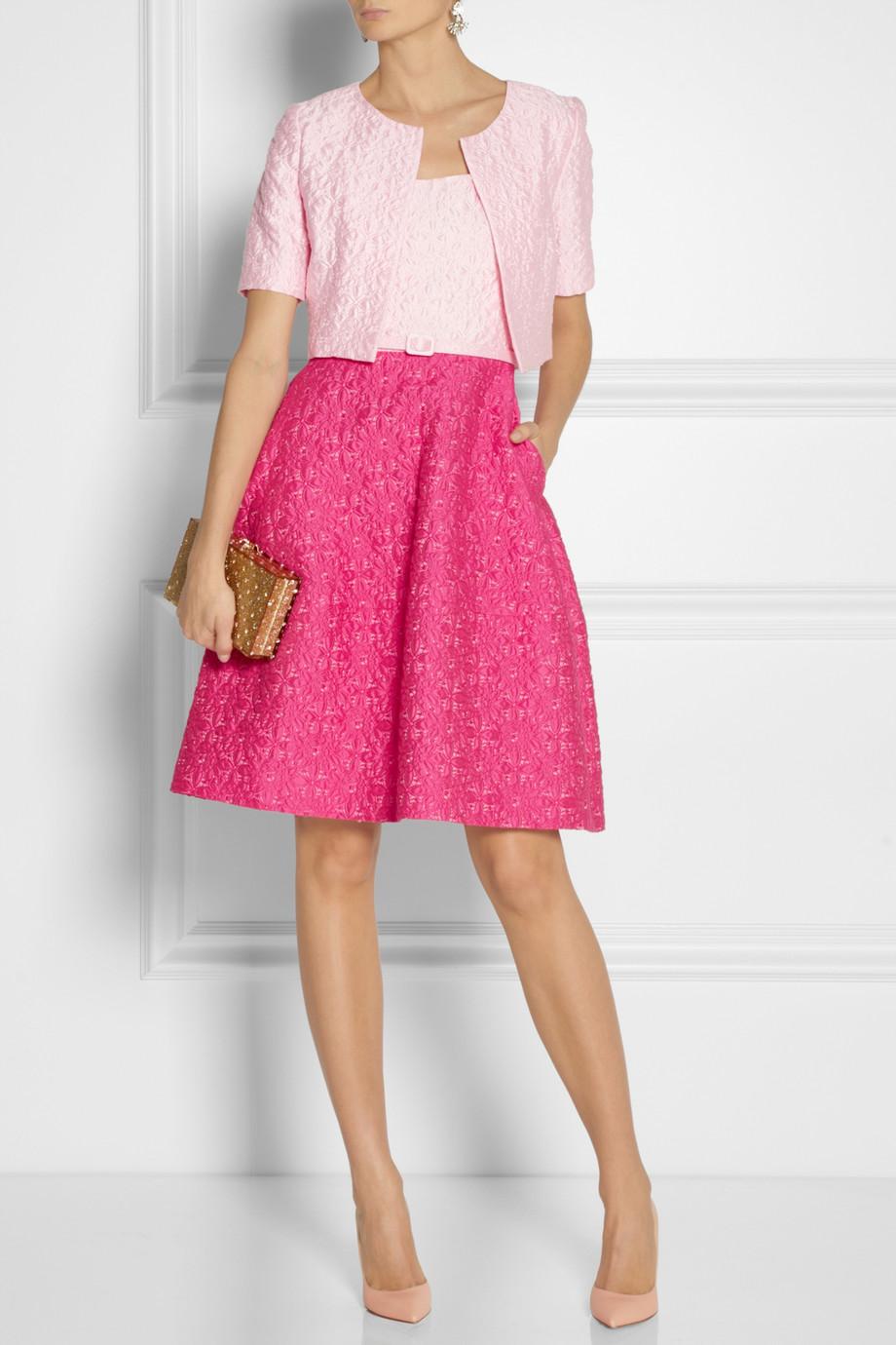 Oscar De La Renta Woman Cotton-blend Dress Magenta Size 2 Oscar De La Renta Outlet Pre Order Discount Purchase brUko