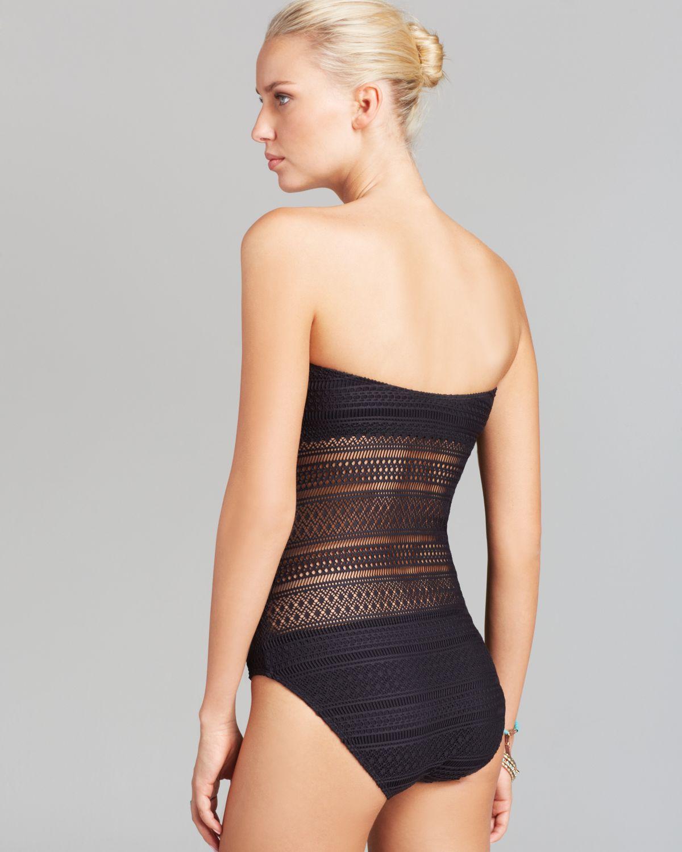 lyst - ralph lauren lauren ava crochet strapless one piece swimsuit