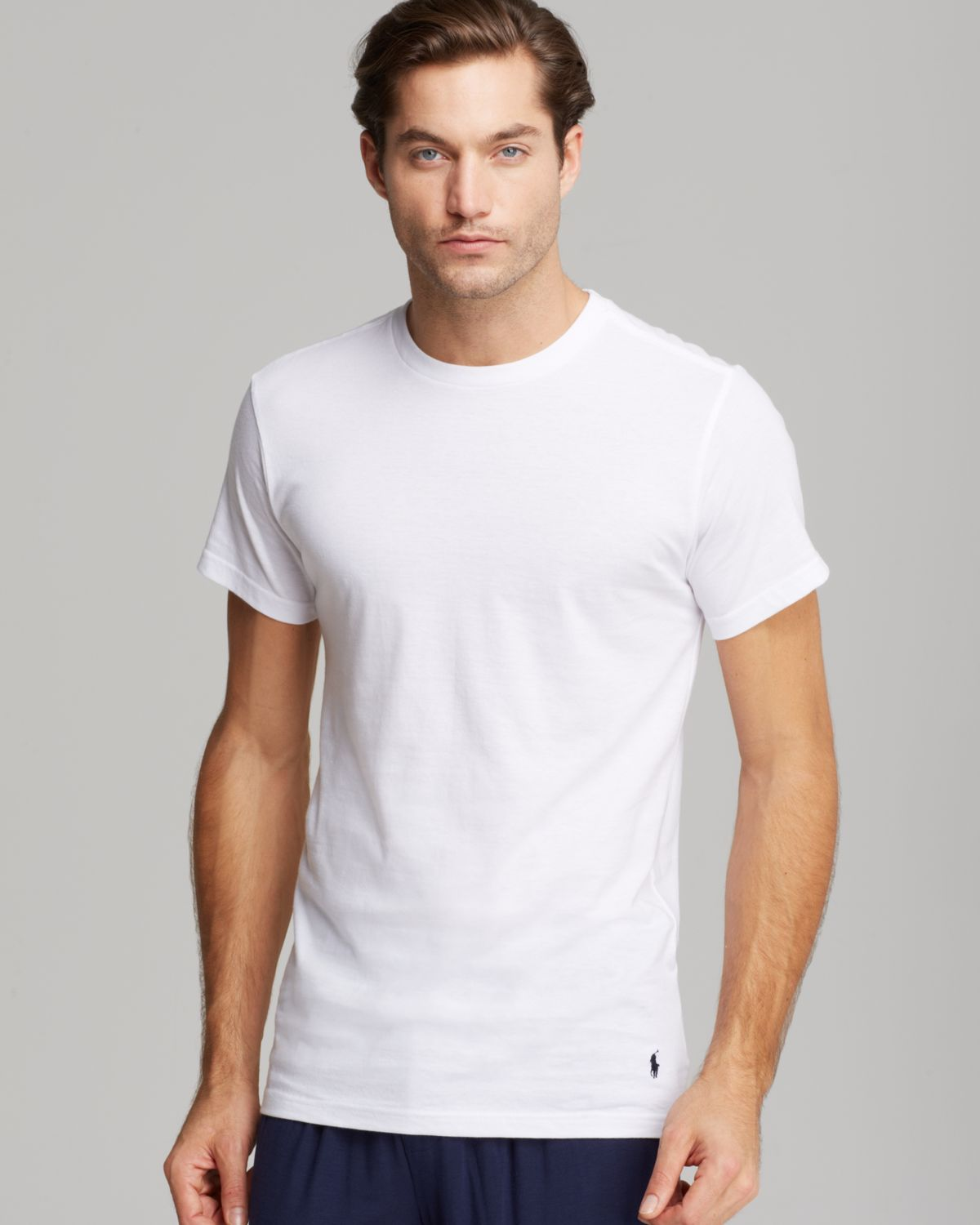 polo ralph lauren slim fit crewneck tee pack of 3 in white for men. Black Bedroom Furniture Sets. Home Design Ideas