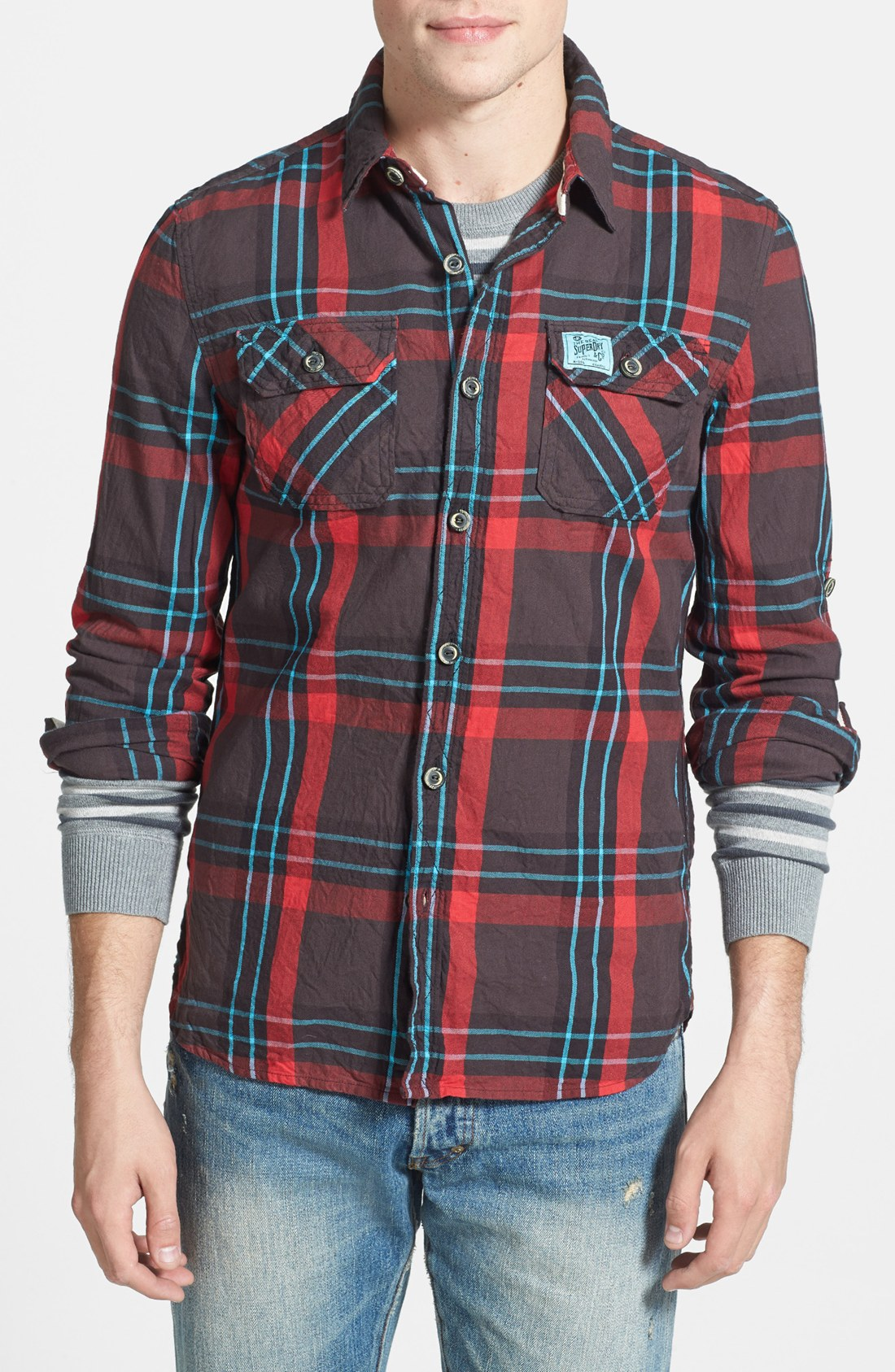 Superdry lumberjack plaid cotton twill shirt in blue for for Mixed plaid shirt mens