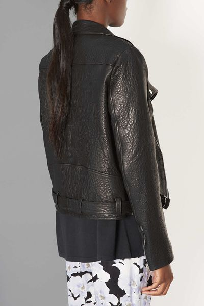 Topshop Premium Leather Biker Jacket By Boutique in Black | Lyst