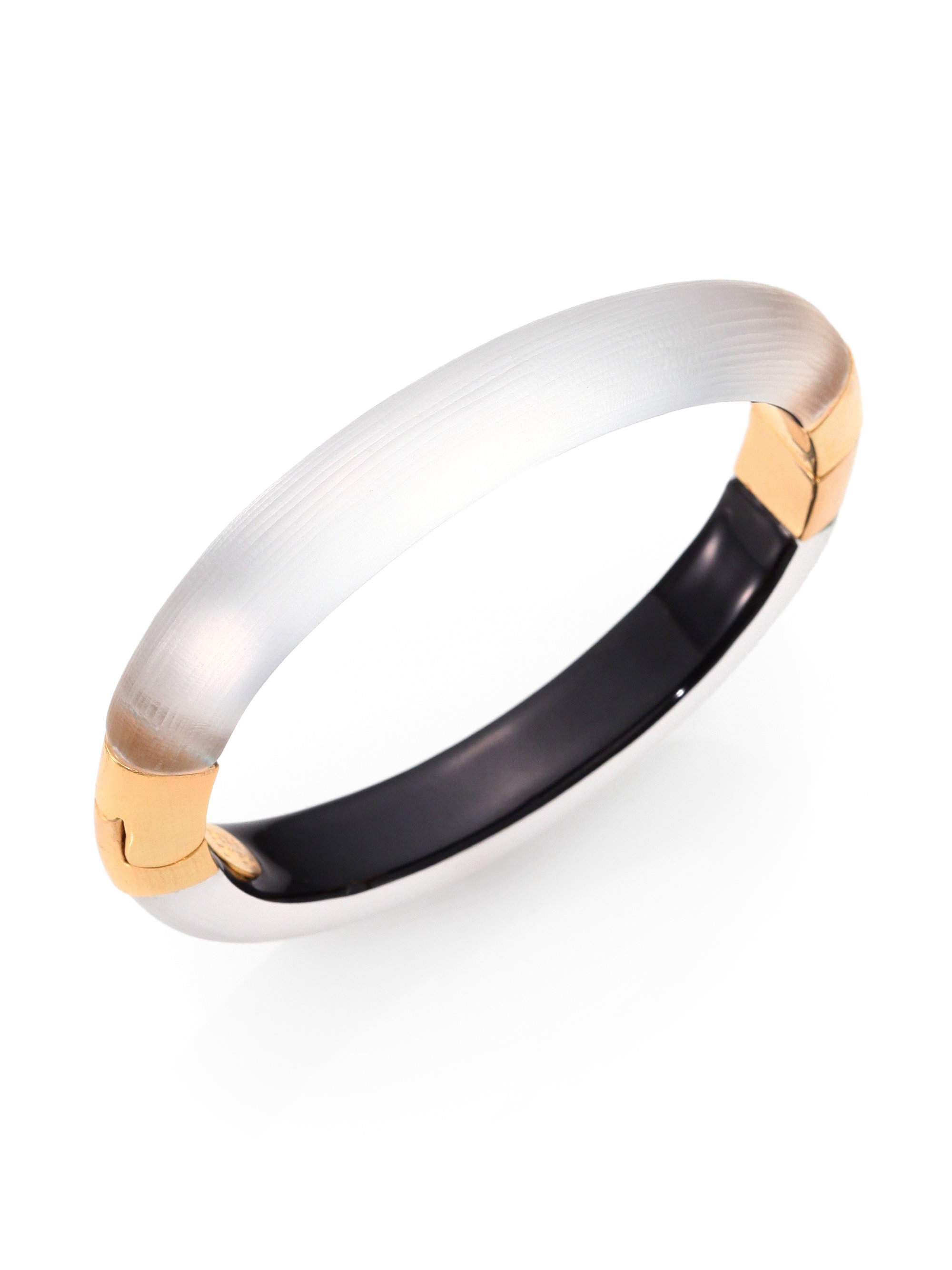 8bd10e8f5896 Lyst - Alexis Bittar Capped Lucite Hinged Bangle Bracelet in Metallic