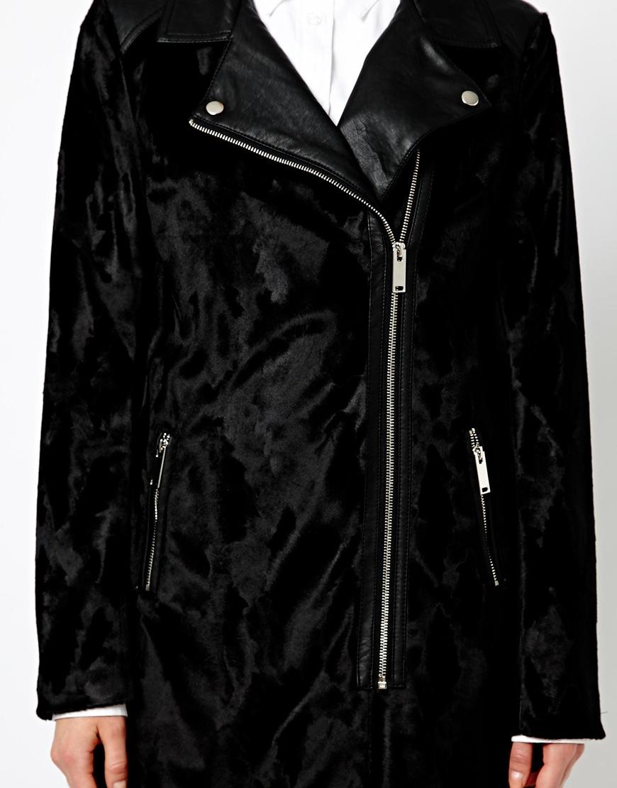 01052a674746 ASOS Oasis Faux Pony Fur Biker Coat in Black - Lyst