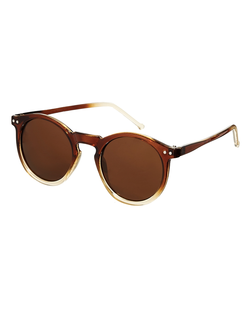 1cd34a44d4c3 Asos Keyhole Round Sunglasses With Brown To Clear Fade Frame in Brown for  Men