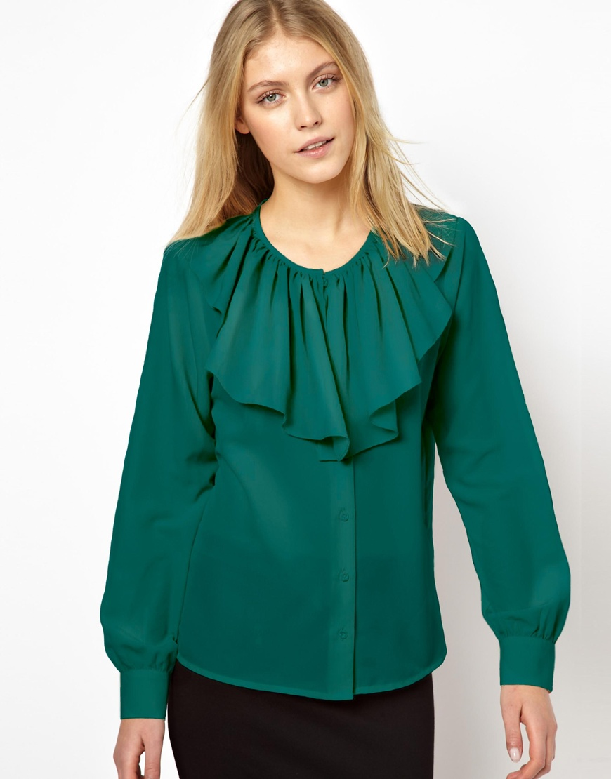 Asos Blouse with Ruffle Front in Green | Lyst