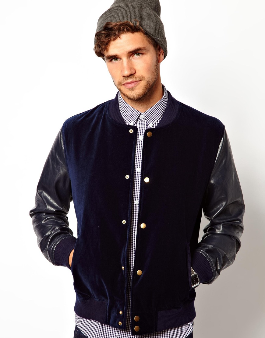Asos Velvet Bomber Jacket in Blue for Men | Lyst