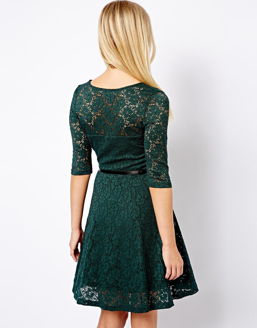 Lyst - ASOS New Look 3 4 Lace Skater Dress in Green 1e4278f504c3