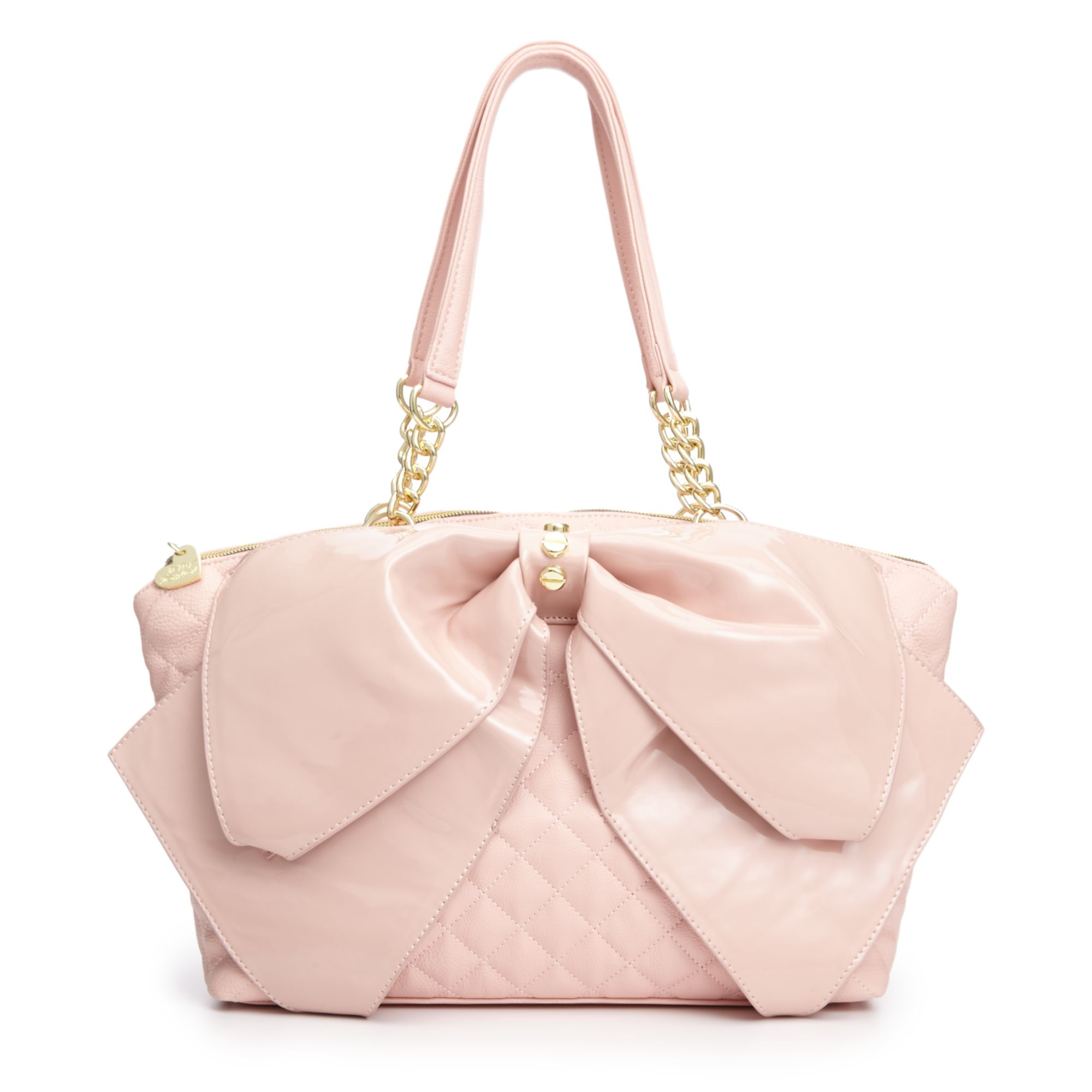 Betsey Johnson Bow Satchel In Pink Pink Quilted Lyst