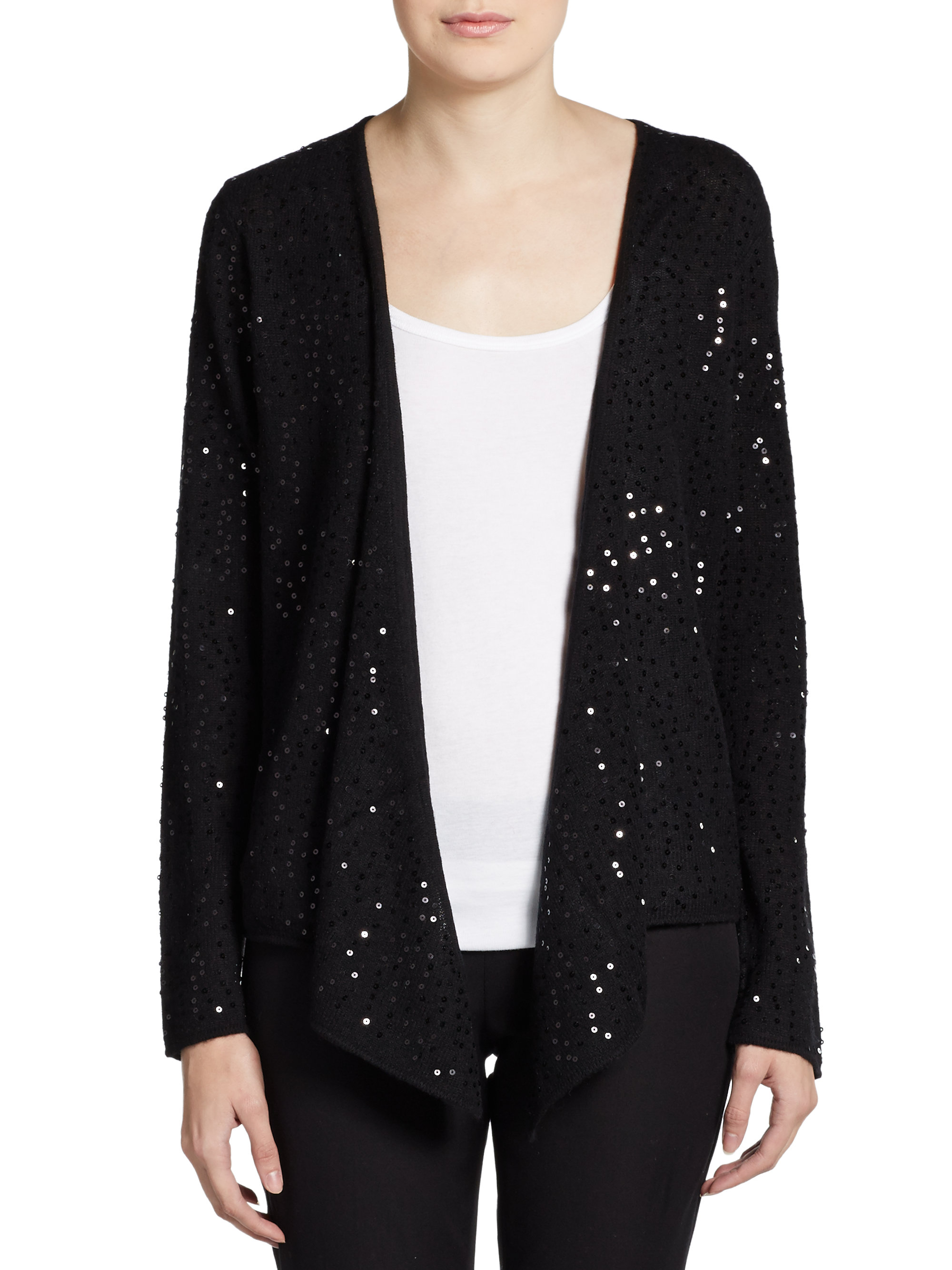 Saks fifth avenue black Sequin Cashmere Open Front Cardigan in ...