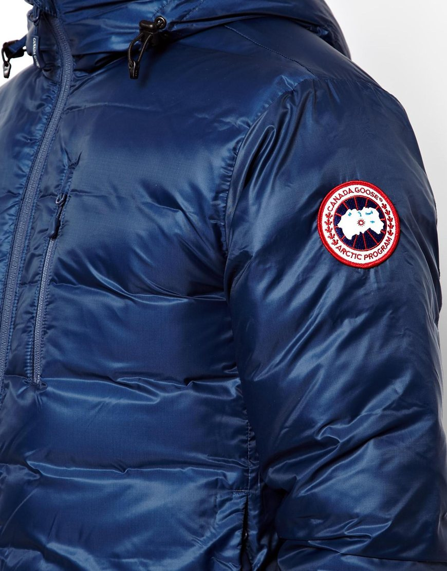 14ca77d70122 ... wholesale lyst canada goose lodge hoody jacket with down fill in blue  for men f2bec bfc4b