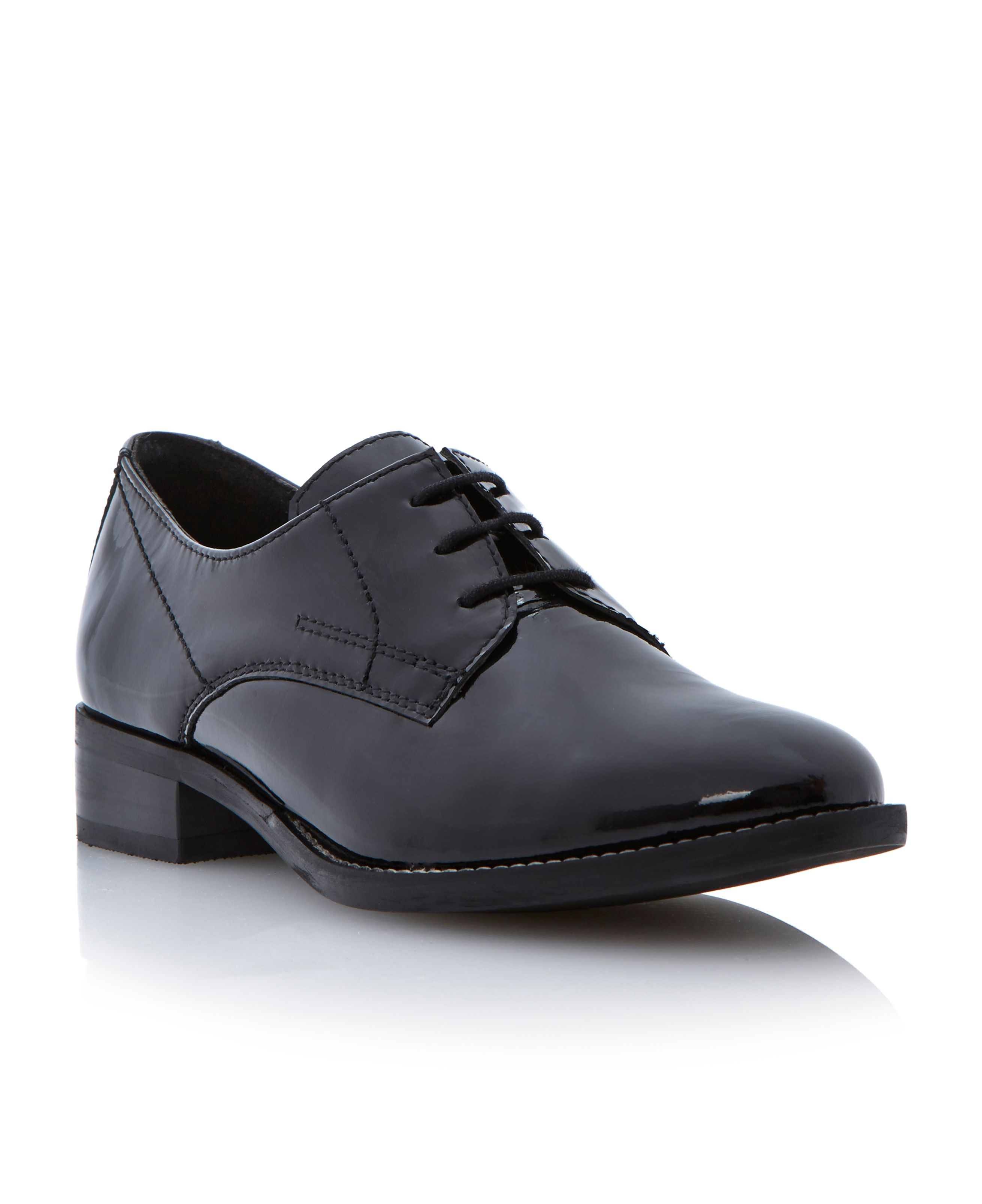 dune lima patent leather lace up shoes in black black
